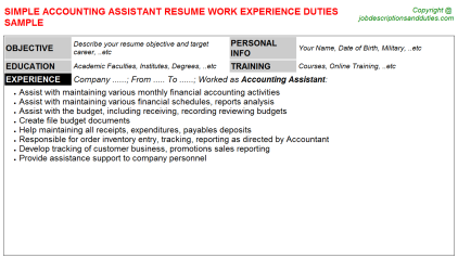 Accounting Assistant Job Resume Template