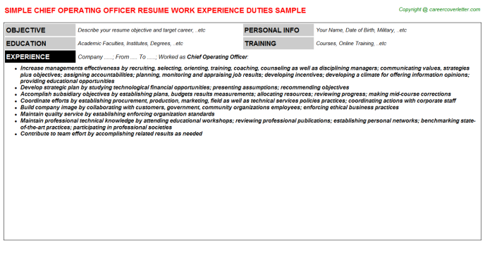 Chief Operating Officer Resume Sample Template