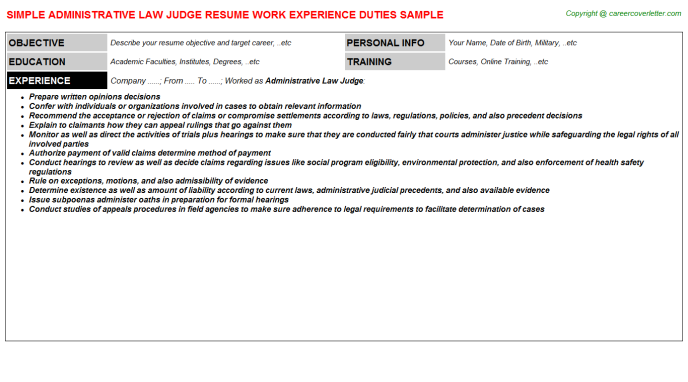 Administrative Law Judge Resume Template