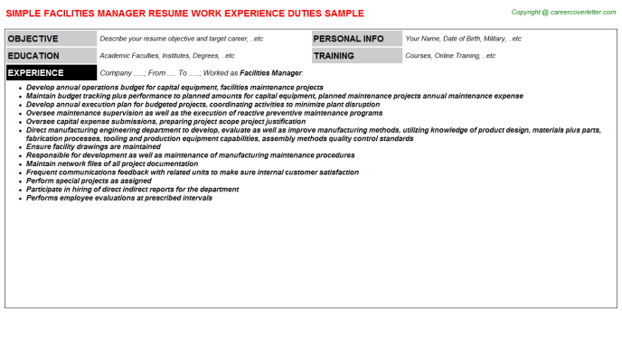 Facilities Manager Resume Sample Template