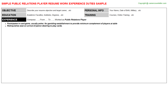 public relations player resume template