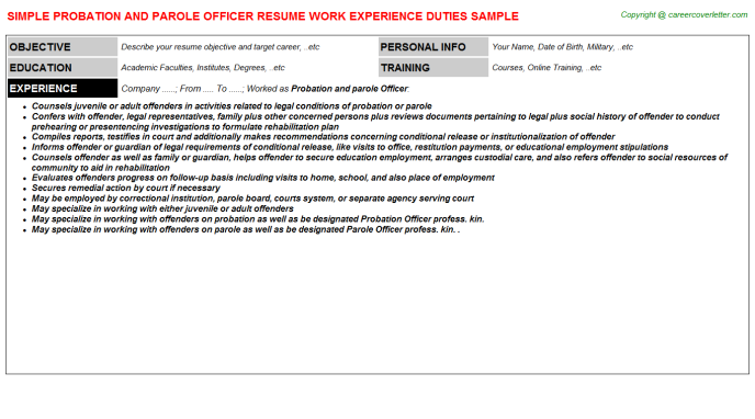 Probation And Parole Officer Resume Sample