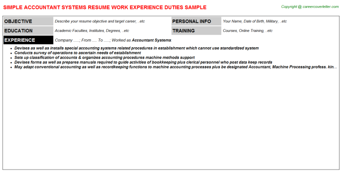 Accountant Systems Resume Template