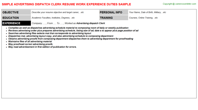 Advertising Dispatch Clerk Resume Template