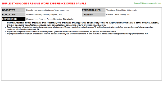 Ethnologist Job Resume Template