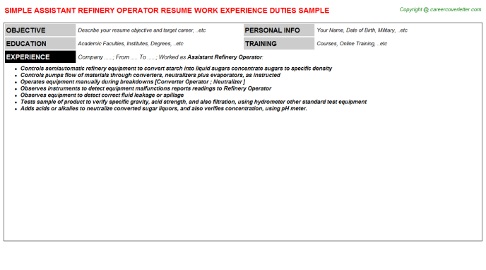 assistant refinery operator resume template