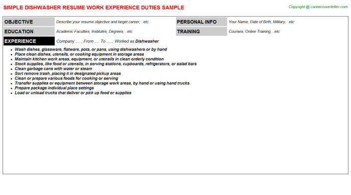Dishwasher Job Resume Template