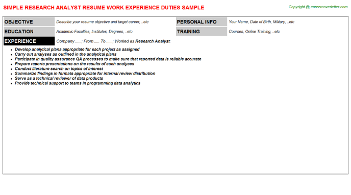 Research Analyst Resume Sample Template