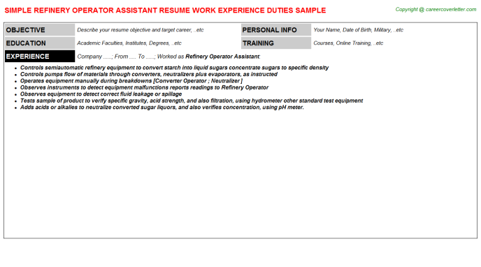 refinery operator assistant resume template