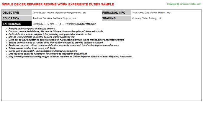 Deicer Repairer Resume Template