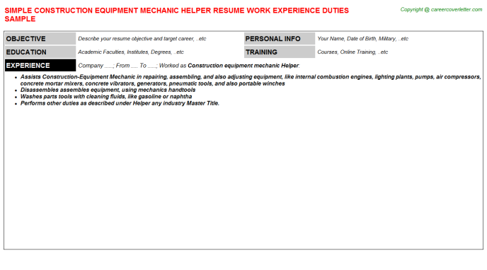 Construction Equipment Mechanic Helper Resume Samples