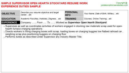Supervisor Open hearth Stockyard Job Resume Template