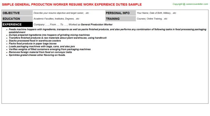 General Production Worker Job Resumes Examples