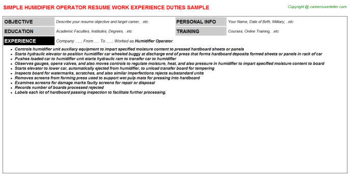 Humidifier Operator Resume Template
