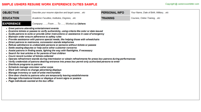 Ushers Job Resume Template