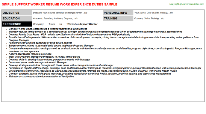 Support Worker Resume Sample Template