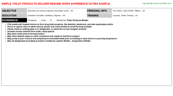 toilet products molder resume template