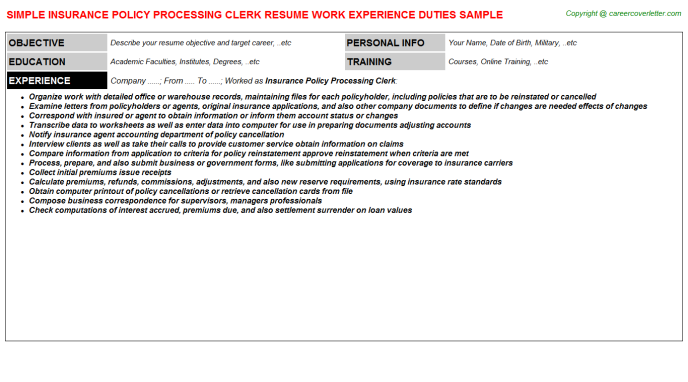 Insurance Policy Processing Clerk Job Resume Sample