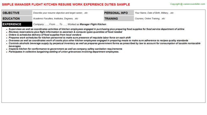 manager flight kitchen resume template