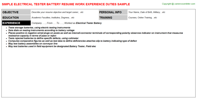 Electrical Tester Battery Resume Template