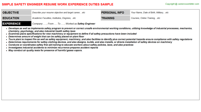 Safety Job Resumes Examples