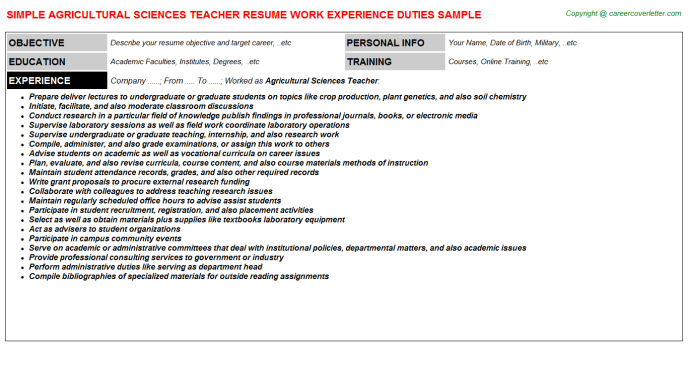 Agricultural Sciences Teacher Resume Template