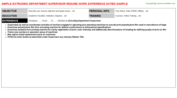 extruding department supervisor resume template