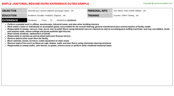 Janitorial Resume Sample Template