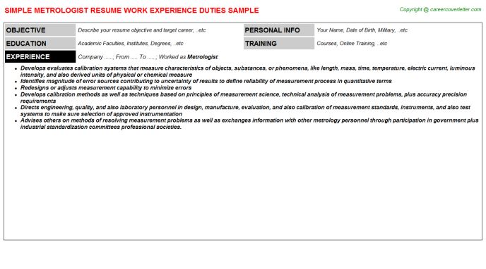 Metrologist Resume Sample Template