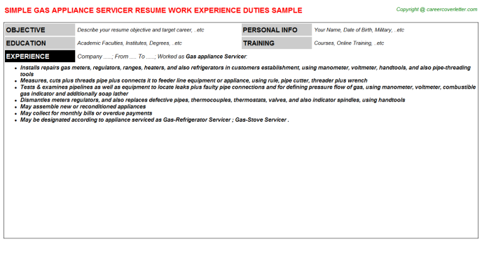 Gas appliance Servicer Resume Template