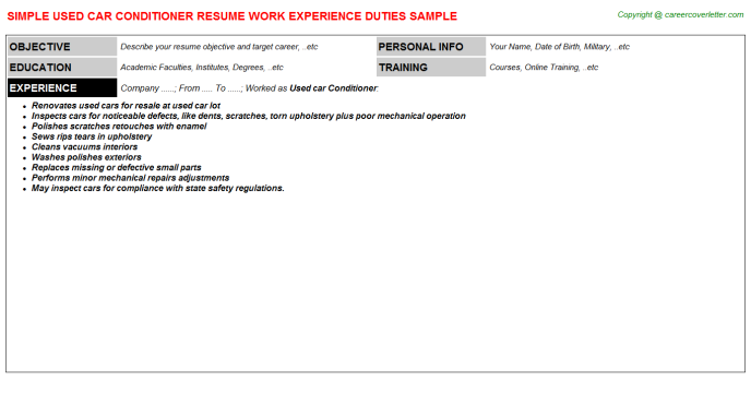 Used Car Conditioner Resume Sample Template