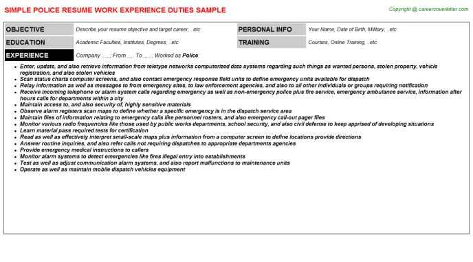 Police Resume Sample Template
