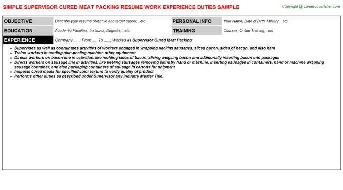 supervisor cured meat packing resume template