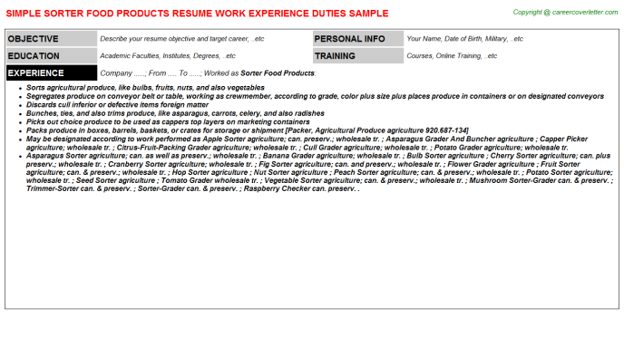 sorter food products resume template