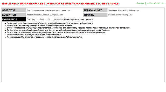 head sugar reprocess operator resume template