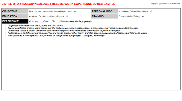 Otorhinolaryngologist Resume Sample Template