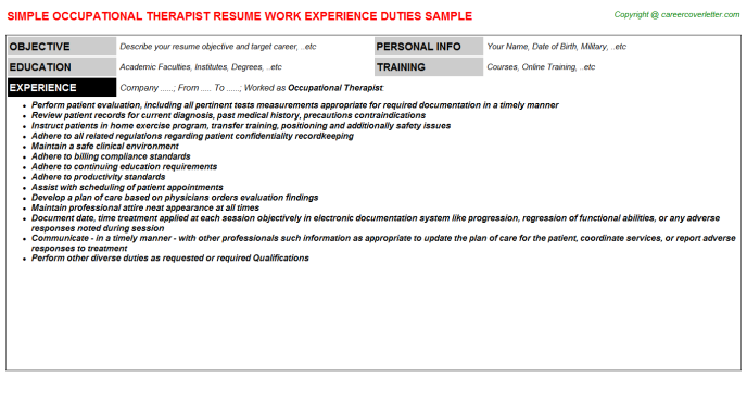 Occupational Therapist Resume Sample Template