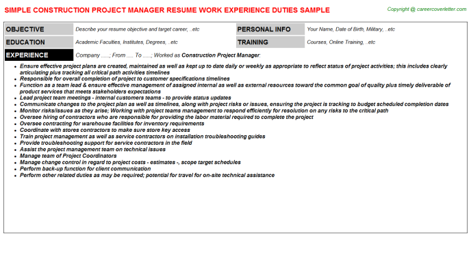 Construction Project Manager Resume Sample Template