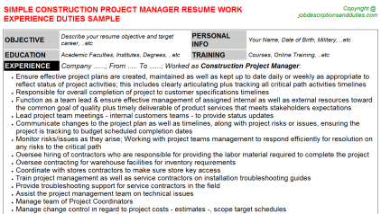 Construction Project Manager Job Resume Template