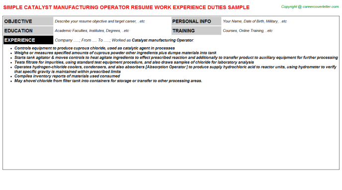catalyst manufacturing operator resume template