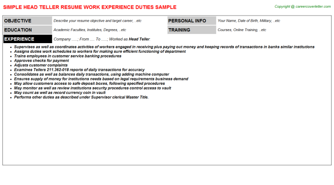 Head Teller Career Templates