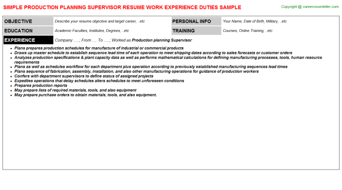 production planning supervisor resume template