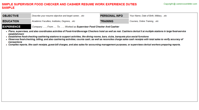 supervisor food checker and cashier resume template