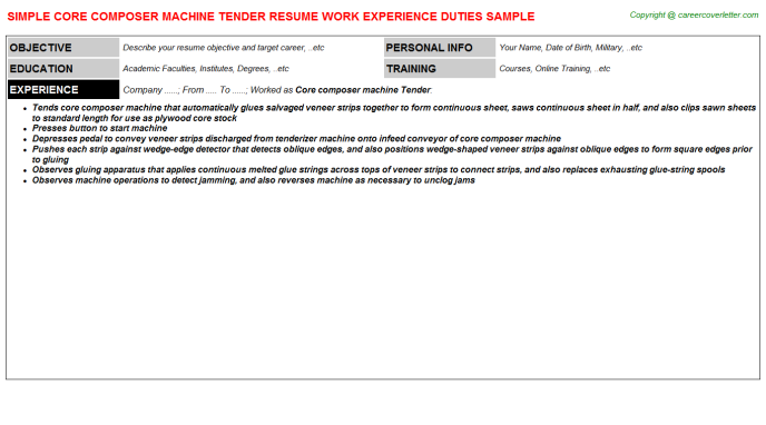 Core composer machine Tender Resume Template