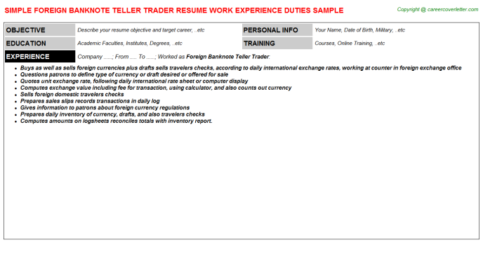Forex Trader Job Templates