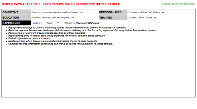 paymaster of purses resume template