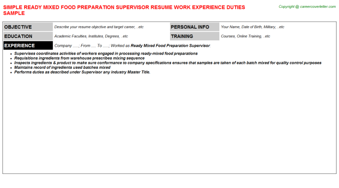 ready mixed food preparation supervisor resume template