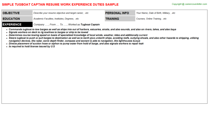 tugboat-captain-resume Sample Of Curriculum Vitae For Police Officers on
