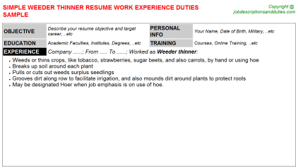 Weeder thinner Job Resume Template