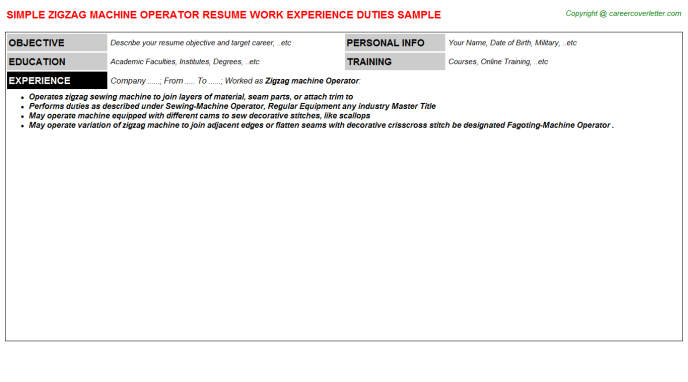Zigzag machine Operator Resume Template